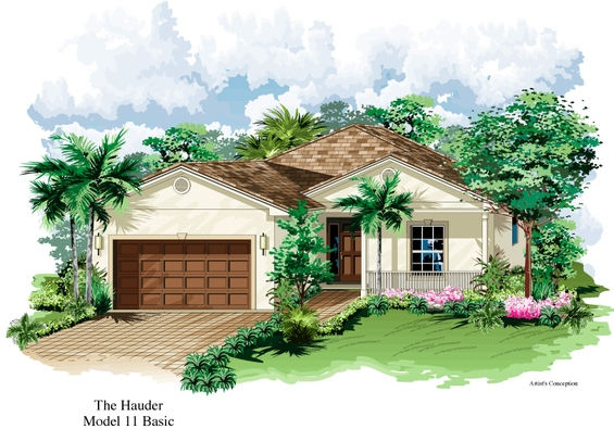 Hauder Model Single Family Home Floor Plan | Age Restricted Resort Style Florida Retirement Communities