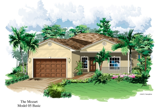 Mozart Model Single Family Home Floor Plan | Gated Resort Style Florida Retirement Communities